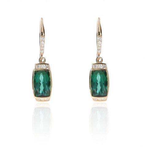 Chrome Green Tourmaline and Diamond Earrings by Heidi Kjeldsen Fine Jewellery ER4675 Front View