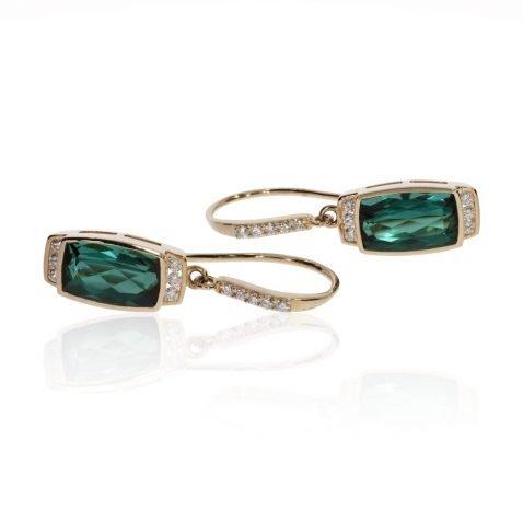 Chrome Green Tourmaline and Diamond Earrings by Heidi Kjeldsen Fine Jewellery ER4675 Side View