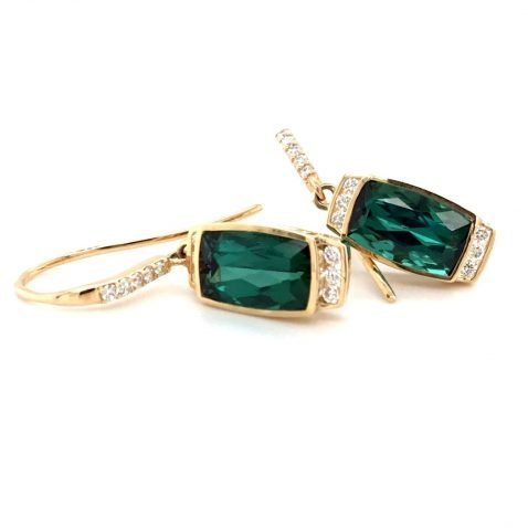 Chrome Green Tourmaline and Diamond Earrings Side View