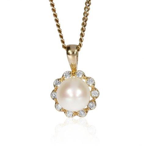 Diamond and Cultured Pearl Pendant by Heidi Kjeldsen Jewellery P1314 Face