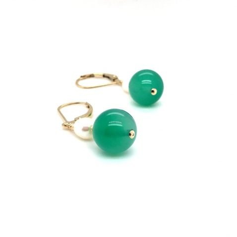 Pretty Dyed Green Agate and Cultured Pearl Drop Earrings