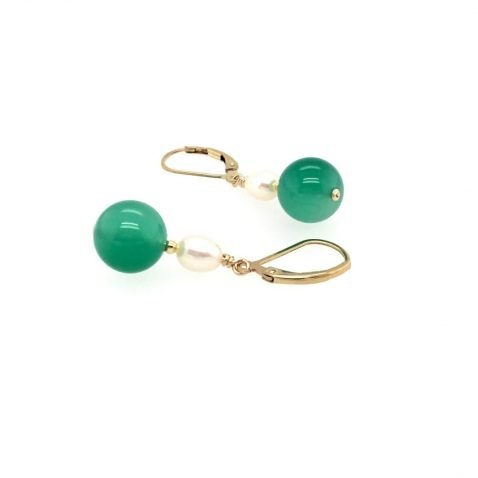 Pretty Dyed Green Agate and Cultured Pearl Drop Earrings Side View