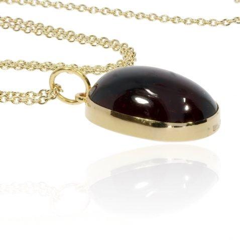 Garnet and Gold handmade pendant by Heidi Kjeldsen Jewellery P1289 Flat
