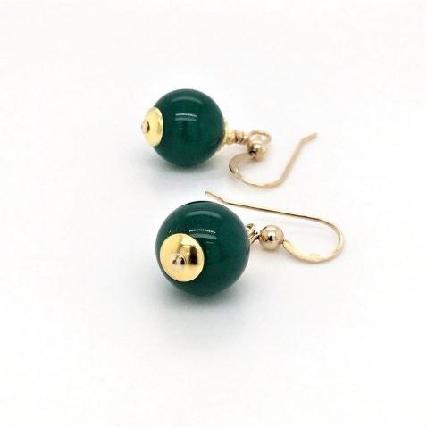 Elegant Dyed Green Agate Drop Earrings Side View