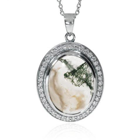 Moss Agate and Diamond Pendant By Heidi Kjeldsen Jewellery P1302 Face