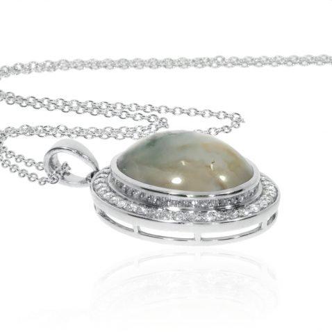 Moss Agate and Diamond Pendant By Heidi Kjeldsen Jewellery P1302 Flat