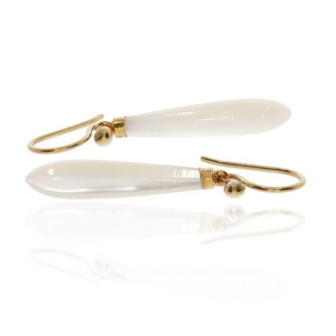 Mother of Pearl and Gold Drop Earrings By Heidi Kjeldsen Jewellers Side View ER4701