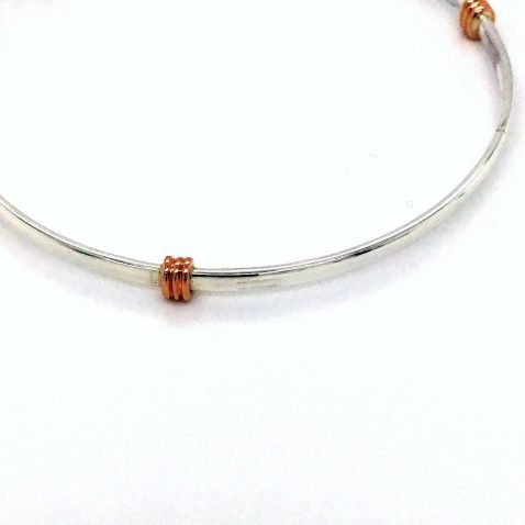 Rose Gold three wraps and Silver Bangle Close Up View