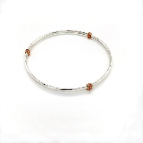 Rose Gold three wraps and Silver Bangle Close Top View