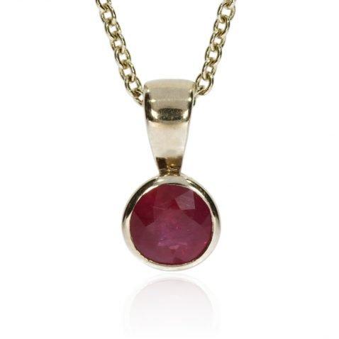 Ruby and Gold Round Pendant by Heidi Kjeldsen Jewellery P1224 Front
