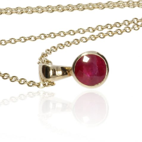 Ruby and Gold Round Pendant by Heidi Kjeldsen Jewellery P1224 Side