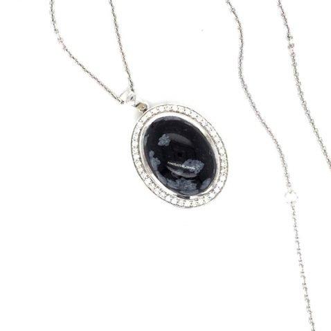 Snowflake Obsidian and Diamond Pendant Top View