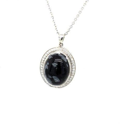 Snowflake Obsidian and Diamond Pendant