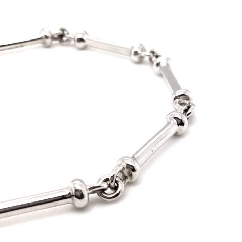 Stylish White Gold Handmade Bracelet Close Up View