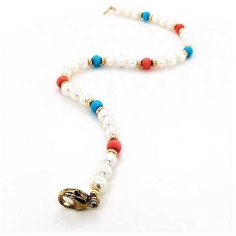 Turquoise, Coral and Cultured Pearl Bracelet Open View