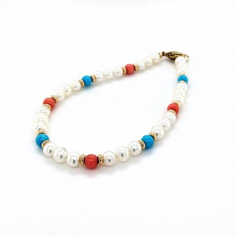 Turquoise, Coral and Cultured Pearl Bracelet