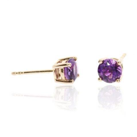 Amethyst and Gold Earrings By Heidi Kjeldsen Jewellery ER2377 Side View