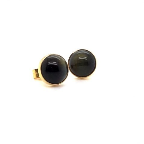 Black tigers Eye Earrings Side View 2