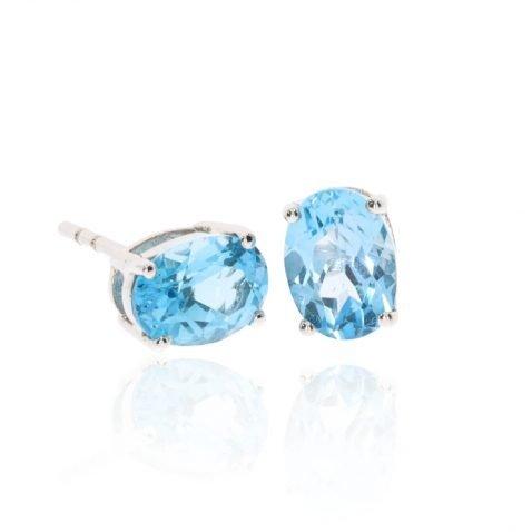 Blue Topaz Oval Earrings By Heidi Kjeldsen Jewellery Side