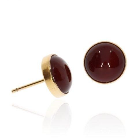Glorious Red Cornelian and Gold Studs by Heidi Kjeldsen Jewellery ER2033 Side