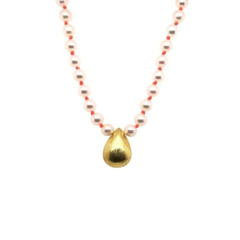 Charming Cultured Pearl and Gold Plated Drop Necklace