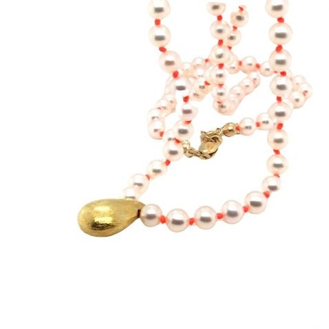 Cultured Pearl and Gold Plated Drop Necklace Front View 2