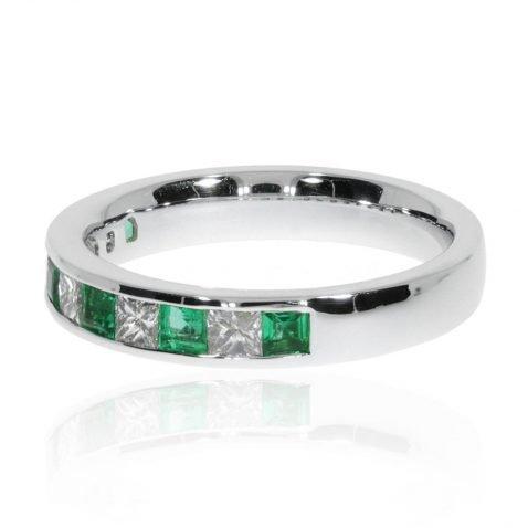 Emerald and Diamond Eternity Ring By Heidi Kjeldsen Jewellers R1588 side view