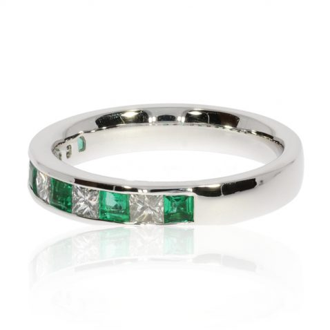 Emerald and Diamond Eternity Ring By Heidi Kjeldsen Jewellers R1588 side view