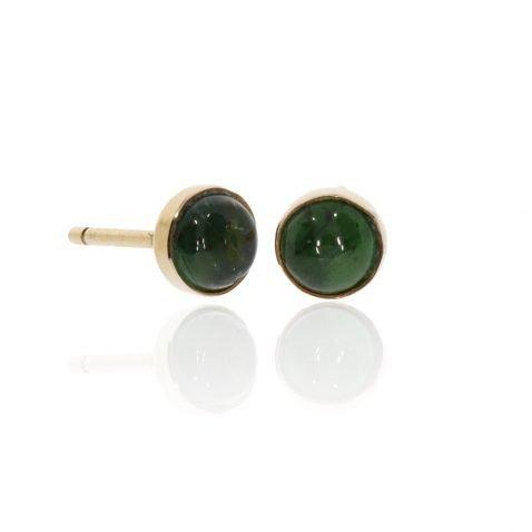 Green Tourmaline and Gold Studs Heidi Kjeldsen Jewellery ER913 Front
