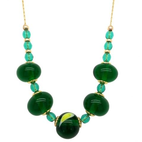 Glorious Green and Yellow Murano Glass Necklace