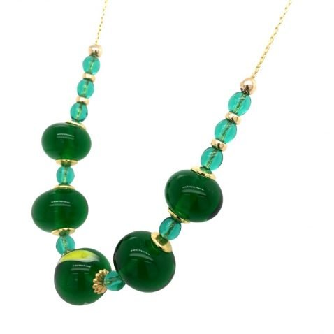 Glorious Green and Yellow Murano Glass Necklace Side View 1