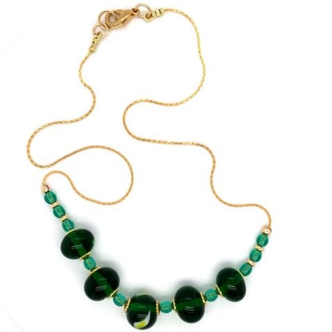 Glorious Green and Yellow Murano Glass Necklace Top View