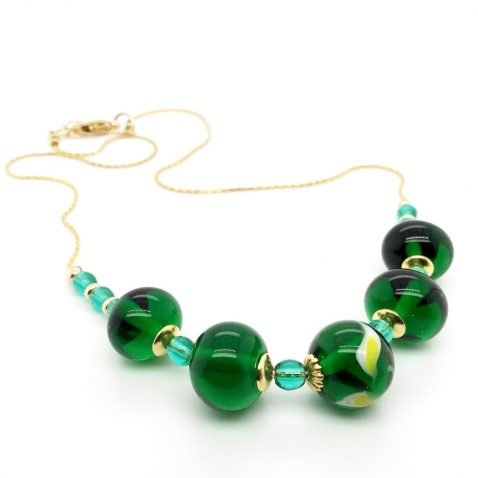 Glorious Green and Yellow Murano Glass Necklace End View