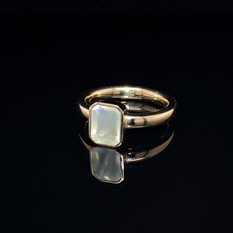 Moonstone and Gold Ring by Heidi Kjeldsen Jewellers R1575 on black
