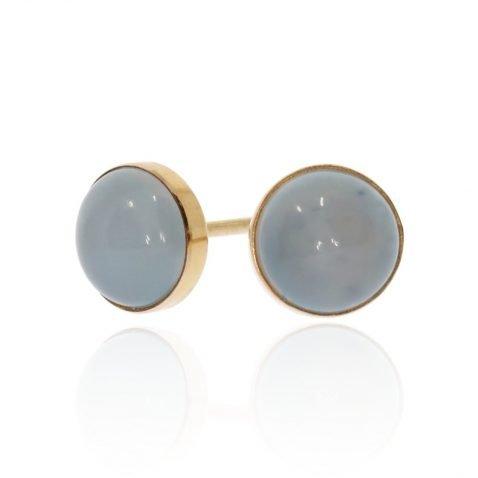 Moonstone and Gold Studs by Heidi Kjeldsen Jewellers ER2392 Front