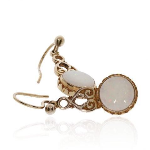 Precious Opal and Gold Earrings Stack View by Heidi Kjeldsen jewellers ER1937