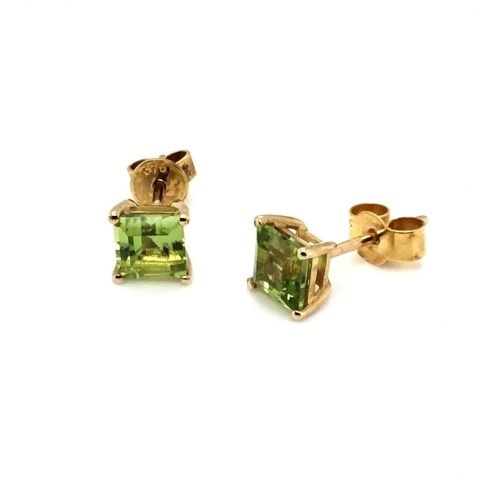 Chis Square Peridot and Gold Earstuds Side View
