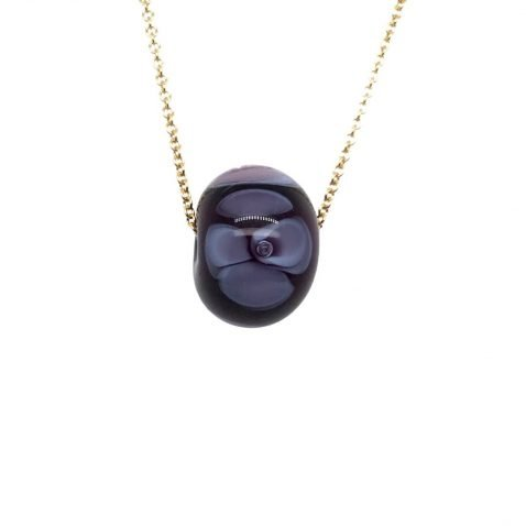 Purple Floral Murano Glass Pendant and Chain
