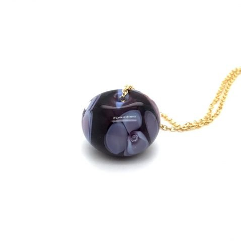 Purple Floral Murano Glass Pendant and Chain Side View 3