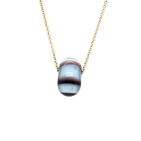 Purple and White Murano Glass Pendant and chain