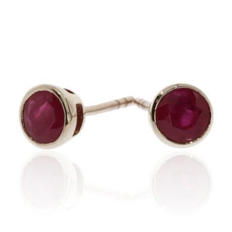 Ruby and Gold Round Earrings by Heidi Kjeldsen ER2344 Front