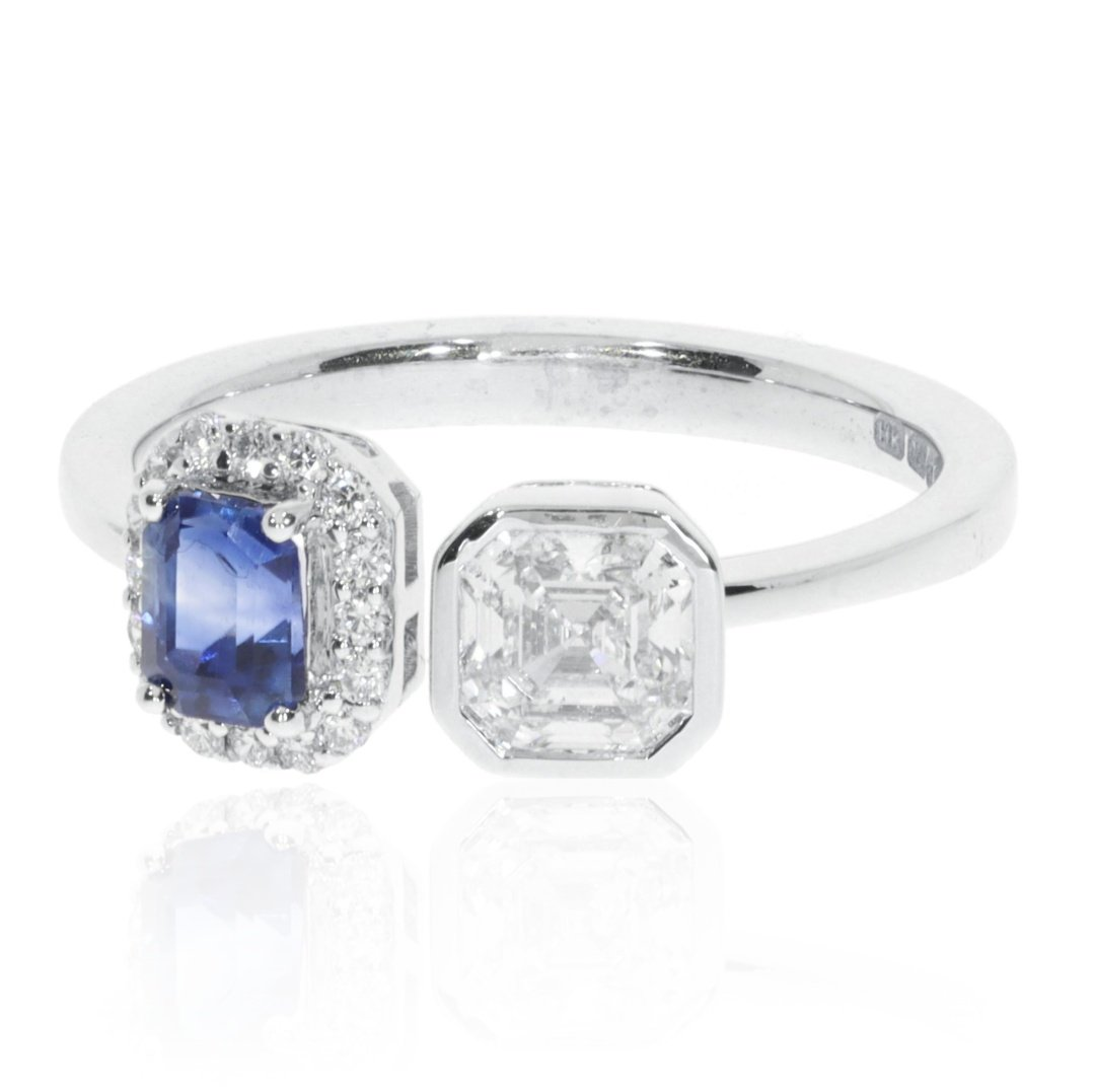 Sapphire and Diamond Ring By Heidi Kjeldsen Jewellery R1578 Side