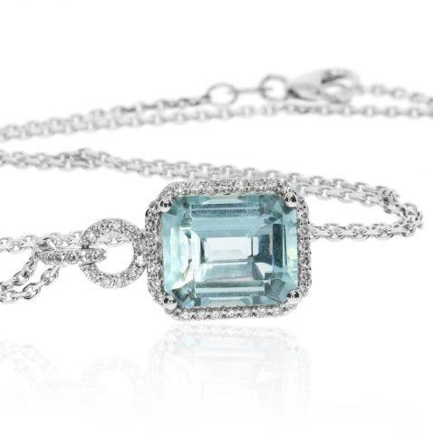 Aquamarine and Diamond Pendant by Heidi Kjeldsen Jewellery P1397 Side View