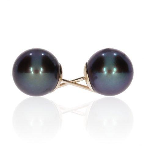 Black Cultured Pearl Earrings By Heidi Kjeldsen Jewellery ER1743 Side