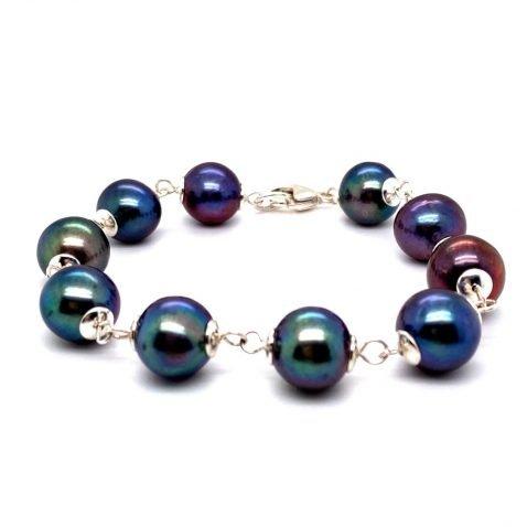Black Cultured Pearl and sterling silver bracelet by Heidi Kjeldsen Jewellery BL1352 A