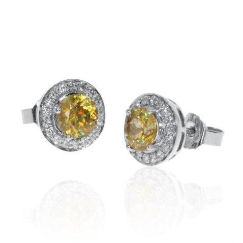 Stunning Burmese Sphene and Diamond Cluster Earrings by Heidi Kjeldsen Jewellery ER2378 Front