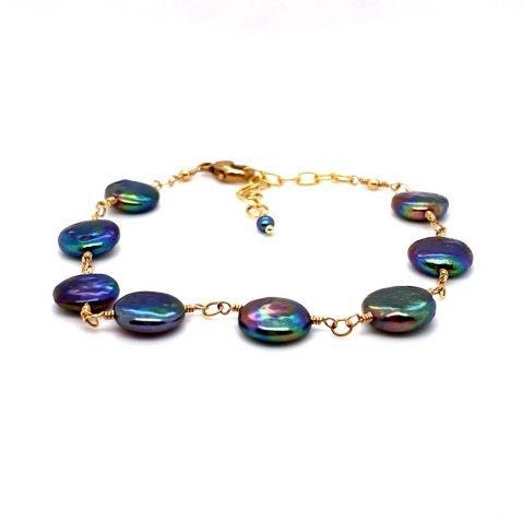 Iridescent Blue Black Cultured Coin Pearl Bracelet Heidi Kjeldsen Jewellery BL1337 A