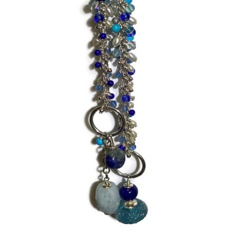 Gorgeous Blue Murano Glass, Lapis Lazuli, Turquoise and Cultured Pearl Sterling Silver Lariat B