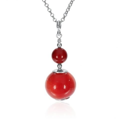 Red Murano Glass and Red Agate Sterling Silver Pendant P1386 A