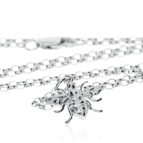 Small Sterling Silver Bee Pendant P1396 Standing